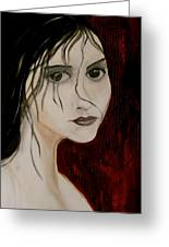 Gothic Portrait Of Woman Painting Greeting Card