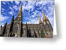 Gothic Revival Style St Patrick's Cathedral In Melbourne Greeting Card