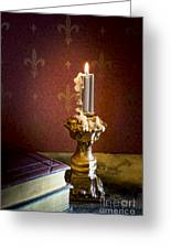 Gothic Scene With Candle And Gilt Edged Books Greeting Card