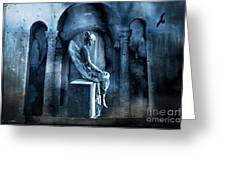 Gothic Surreal Angel In Mourning With Ravens Greeting Card