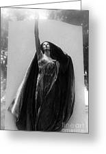 Gothic Surreal Haunting Female Cemetery Mourner Figure Black Caped Woman In Front Of Gravestone Greeting Card