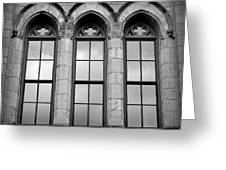 Gothic Windows - Black And White Greeting Card