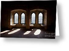 Gothic Windows Of The Royal Residence In The Leiria Castle Greeting Card