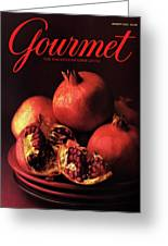 Gourmet Cover Featuring A Plate Of Pomegranates Greeting Card