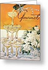 Gourmet Cover Featuring A Pyramid Of Champagne Greeting Card