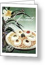 Gourmet Cover Featuring Poached Eggs On Cubed Greeting Card