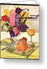 Gourmet Cover Featuring Sweetbread And Asparagus Greeting Card