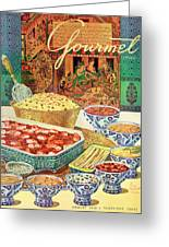 Gourmet Cover Featuring Various Indian Dishes Greeting Card