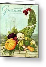 Gourmet Cover Illustration Of A Cornucopia Greeting Card