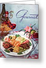 Gourmet Cover Illustration Of A Plate Of Antipasto Greeting Card