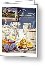 Gourmet Cover Illustration Of Cranberry Muffins Greeting Card