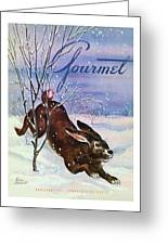 Gourmet Cover Of A Rabbit On Snow Greeting Card