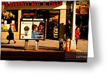 Gourmet Deli And Pizza - New York City Street Scene Greeting Card