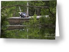 Superbike On Creek Bridge Greeting Card