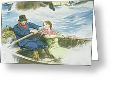 Grace Darling And Her Father Rescuing Greeting Card