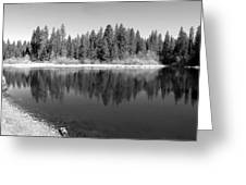 Grace Lake Reflections In Black And White Greeting Card