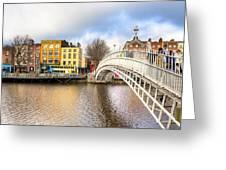 Graceful Ha'penny Bridge Over River Liffey Greeting Card