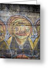 Graffiti Covered Cement Wall Greeting Card