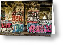 Graffiti On The Walls, Tenth Street Greeting Card
