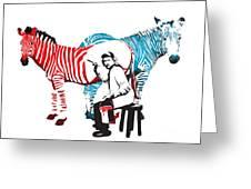 Graffiti Print Of Rembrandt Painting Stripes Zebra Painter Greeting Card
