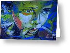 Graffiti Thoughtful Child Greeting Card by Victoria Herrera