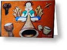 Graffiti Wall Greeting Card by Bobby Mandal