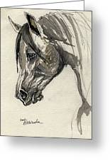 Grafik Polish Arabian Horse Ink Drawing Greeting Card