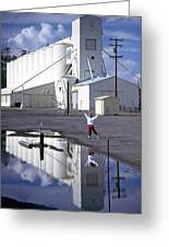 Grain Elevators And Child Greeting Card