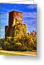 Grain Silos With Digital Painted Effect Greeting Card