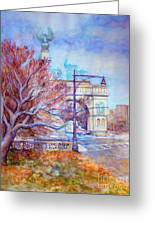 Grand Army Plaza With Lamppost And Tree Greeting Card