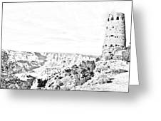 Grand Canyon National Park Mary Colter Designed Desert View Watchtower Black And White Line Art Greeting Card