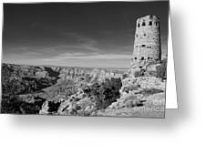 Grand Canyon National Park Mary Colter Designed Desert View Watchtower Near Sunset Black And White Greeting Card