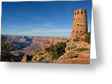 Grand Canyon National Park Mary Colter Designed Desert View Watchtower Near Sunset Greeting Card