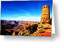 Grand Canyon National Park Mary Colter Designed Desert View Watchtower Vivid Greeting Card