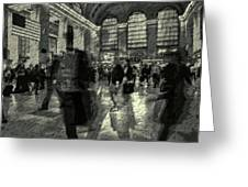 Grand Central Abstract In Black And White Greeting Card