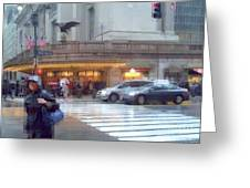 Grand Central Rain - 42nd Street Greeting Card