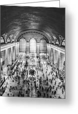 Grand Central Terminal Birds Eye View Bw Greeting Card