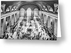 Grand Central Terminal Birds Eye View I Bw Greeting Card