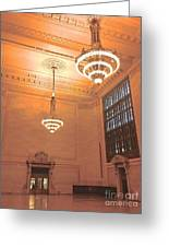 Grand Central Terminal Chandeliers Greeting Card