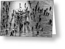 Grand Central Terminal Clock Birds Eye View II Bw Greeting Card