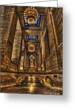 Grand Central Terminal Station Chandeliers Greeting Card