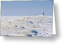 Grand Haven Channel Under Ice Greeting Card