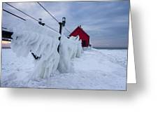 Grand Haven Lighthouse In Winter Greeting Card