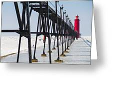 Grand Haven Lighthouse Pier In Winter Greeting Card