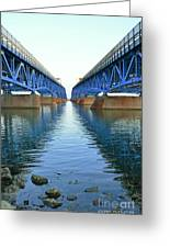 Grand Island Bridges Greeting Card by Kathleen Struckle