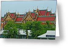 Grand Palace Of Thailand From Waterways Of Bangkok-thailand Greeting Card