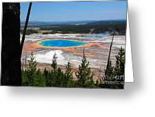 Grand Prismatic Spring From Hillside Greeting Card