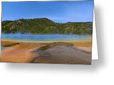 Grand Prismatic Spring In Yellowstone Panorama Greeting Card