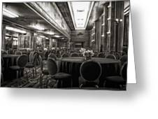 Grand Salon 05 Queen Mary Ocean Liner Bw Greeting Card
