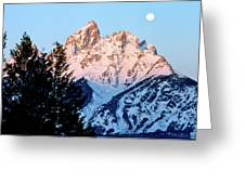 Grand Teton National Park Moonset Greeting Card